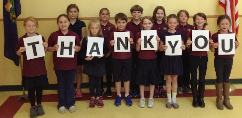 "Bishop Marshall School students say, ""Thank You"""
